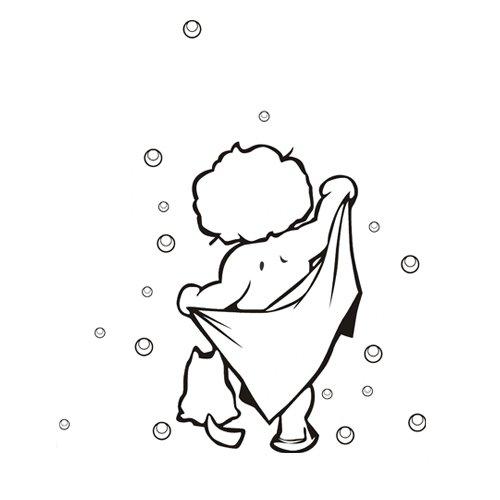 "23.6"" X 17.55"" Baby Boy Bathing Bubble Wall Art Sticker Decor Mural Diy Vinyl D¨¦Cor For Bathroom. front-829680"