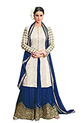 VIHA Blue Rayon Cotton Embroidered Dress Material