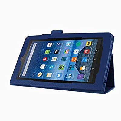"""2015 Amazon Kindle Fire HD 7"""" Tablet TOOPOOT® Leather Stand Case (Dark Blue) by TOOPOOT®"""
