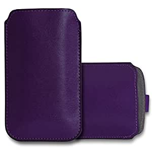 GBOS LG L PRIME Leather Pull Tab Case Cover Pouch Purple