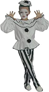 Girls Deluxe Pierrot Clown Costume Size Medium (8-10)