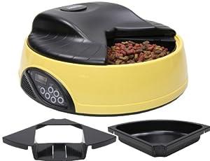 Designer Habitat Magnifique Gamelle automatique pour chien et chat de couleur jaune muni d'un plateau réglable et d'un enregistreur vocal