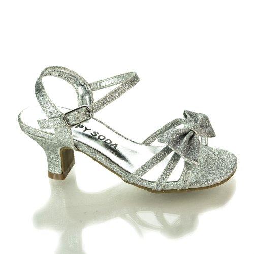 Girlyii Silver Glt Children'S Open Toe Bow Slingback Small Block Heel Sandals-2 front-936623