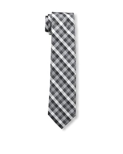 Zenio Men's Regular Plaid Skinny Tie, Black White
