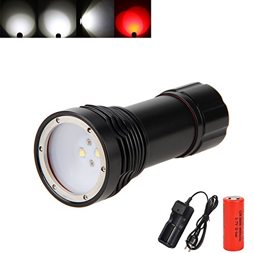VastFire Diving Dive Flashlight Led Water Proof 2000 Lumen Cree Scuba Light 2XM-L2 & 2Blue, 26650 Battery, Charger (Red) (E Gift Card Ebay compare prices)