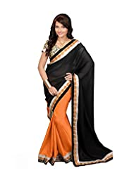 Dancing Girl Orange Black Cotton Silk Georgette Saree
