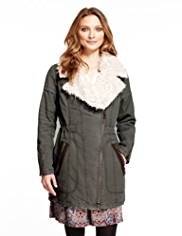 Indigo Collection Pure Cotton Faux Fur Trim Biker Parka