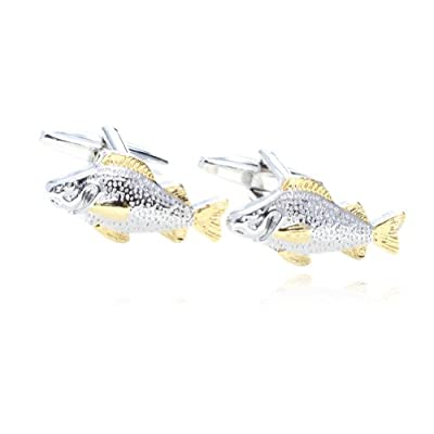 Digabi Jewelry Fish Shaped Gold and Platinum Cufflinks with Gift Box High Quality