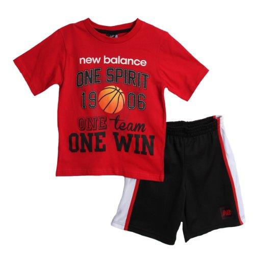 New Balance Kid Boys 2 Piece Red Basketball Athletic T-Shirt Black Mesh Shorts front-942303