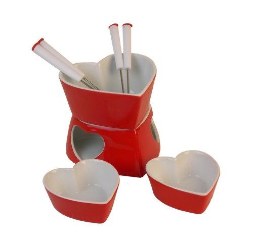 Heart Shaped 9 piecec Chocolate Cheese Valentines Fondue Set