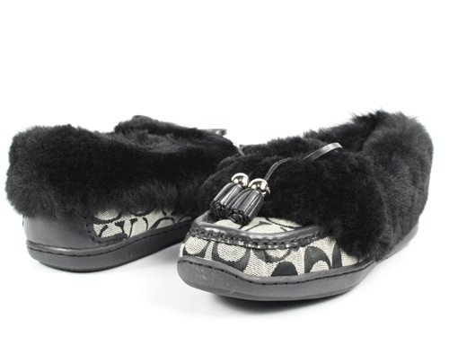 Cheap Coach Fiona Sig Black / White Slippers Shoes Size 7.5 (B002YVHAJM)