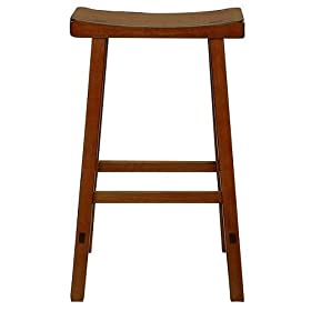"Saddle Seat Barstool- Rustic Oak(24"")"