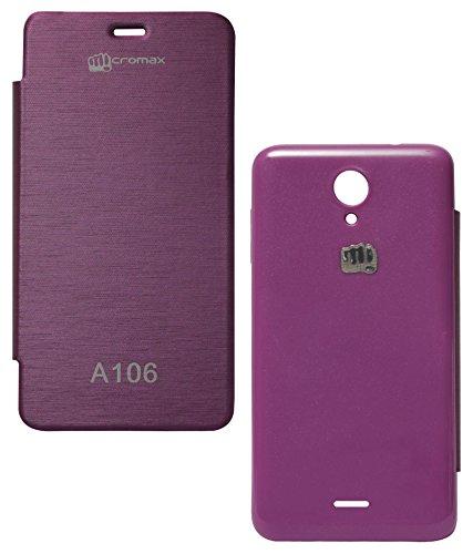 DMG Hot Pressed Leather Flip Book Cover Case for Micromax Unite 2 A106 (Purple)