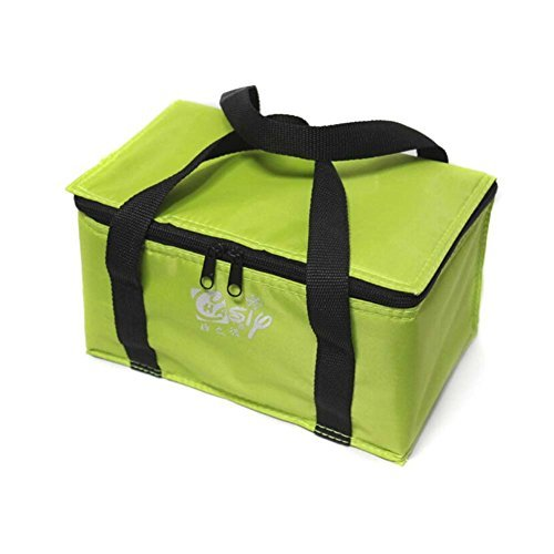 iBaste 6L Cooler Lunch Tote Bag Fit and Fresh Lunch Box Cups Candy Color Square Lunch Bag for Teens (Green)