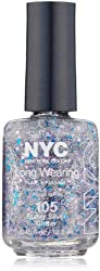 New York Color Long Wearing Nail Enamel, Starry Silver Glitter, 0.45 Fluid Ounce