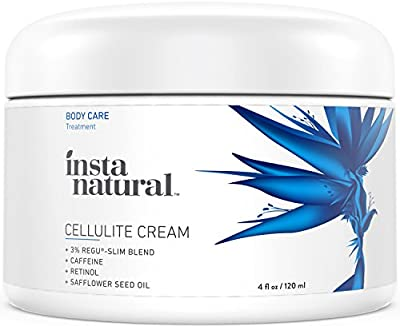 InstaNatural Cellulite Cream - With Caffeine and Retinol - Firming Lotion and Dimple Remover for Legs, Arms, Stomach, Buttocks and More - No Wrap Needed - With Jojoba Oil and Vitamin E - 4 OZ