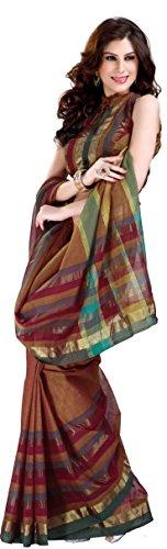 SareeStudio Brown Party Wear Saree Zari Work Indian Cotton Saree