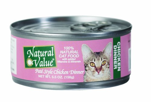 Natural Value Cat Food, Pate Style Chicken Dinner, 5.5-Ounce Cans (Pack of 24)