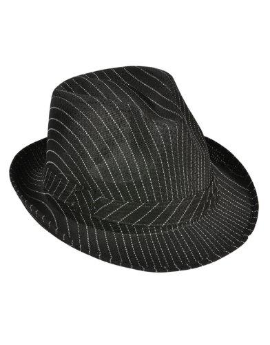 Roaring s gangster costume black pin stripe fedora hat