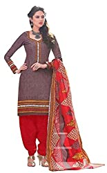 PADMiNi Ethnicwear Women's Dress Material Brown Free Size