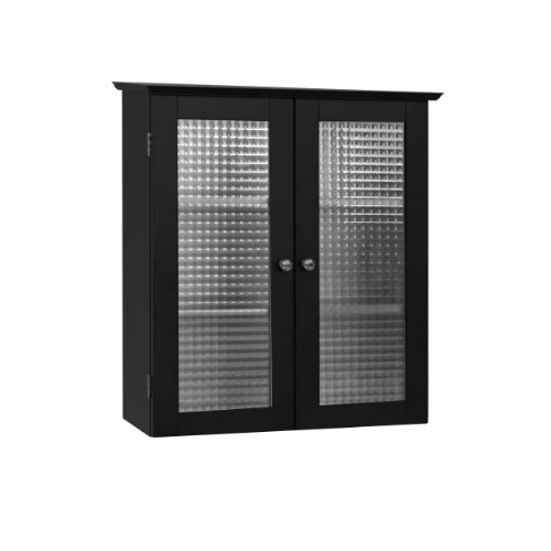 Elegant Home Fashions Chesterfield Collection Wall-Mount Medicine Cabinet with Tempered-Glass Doors, Espresso (Tempered Glass Cabinet Doors compare prices)