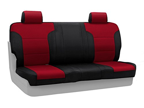 Coverking Rear Solid Back Custom Fit Seat Cover For Select Toyota Land Cruiser Models - Neoprene (Red With Black Sides)