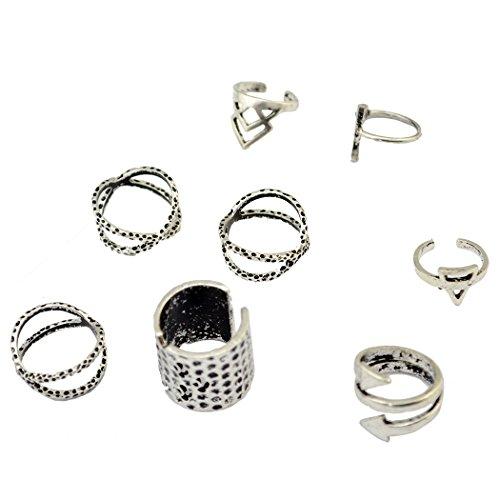 Vintage argento gypsy comune Knuckle Nail Midi Anello Set di 8anelli