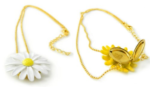 White Daisy Flower Gold Locket Necklace