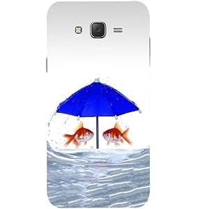 Casotec Fish Rain Glass Design Hard Back Case Cover for Samsung Galaxy J2