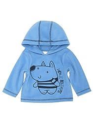 Baby boy blue fleece dog pup hooded sweater jumper
