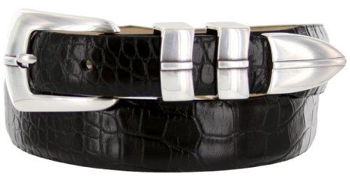 Marin Silver Italian Calfskin Leather Designer Dress Golf Belt for Men (38, Alligator Black)