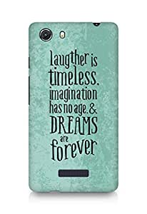 AMEZ laughter is timeless imagination has no age and dreams are forever Back Cover For Micromax Unite 3