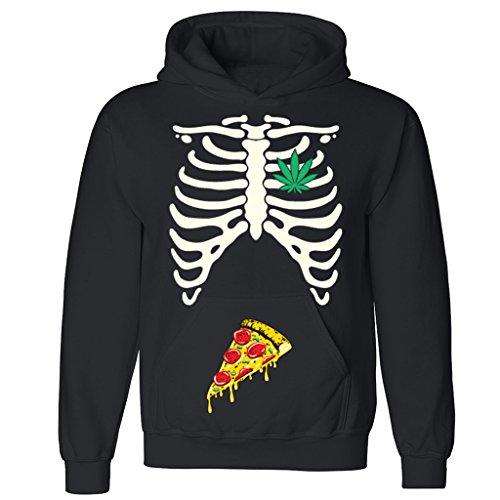 [Rib Cage Weed Pizza Munchies Unisex Hoodie Halloween Costume Hooded Sweatshirt Black X-Large] (But Mommy Costumes)