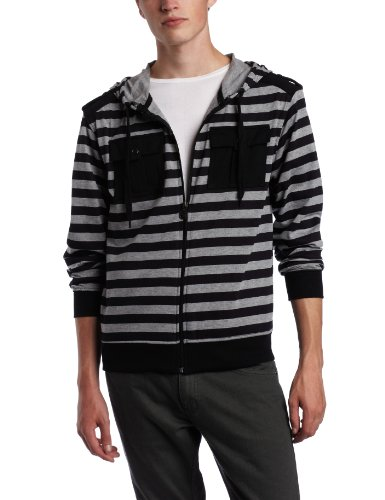 Southpole Young Mens Printed Stripe Long Sleeve Hoody With Epaulettes And Pocket Detail, Black, XX-Large