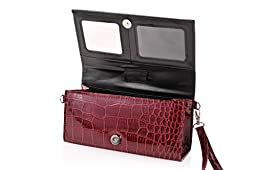 Eye Pockit Multi-Purpose Clutch, Glasses Case, RFID Wallet, Phone case combo - Red Croc