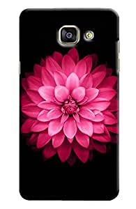 Omnam Pink Rose With Black Printed Designer Back Cover Case For Samsung Galaxy A7 (2016)