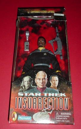 "Star Trek: Insurrection! Lt. Commander Geordi Laforge, Classic Edition, 9"" Poseable Action Figure in Cloth Starfleet Uniform"