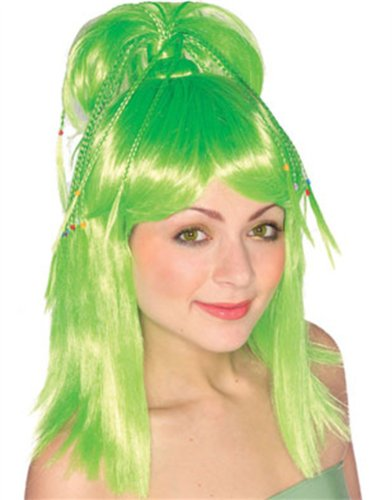 Sexy Adult Womens Green Genie Costume Ponytail Wig