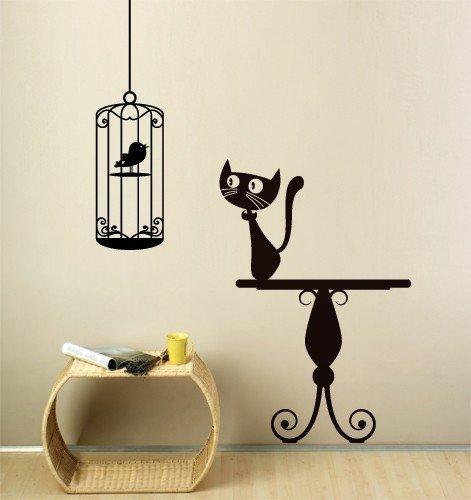 Adesivo murale wall sticker gatto e uccellino misure for Disegni per pareti