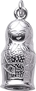 Rembrandt Charms Matryoshka Doll Charm, Rhodium Plated Silver