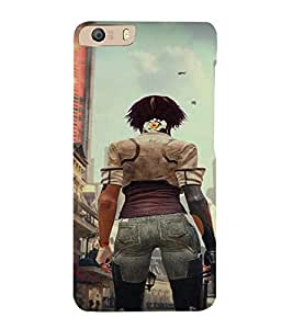 PrintVisa Fighter Girl Art 3D Hard Polycarbonate Designer Back Case Cover for Micromax Canvas Knight 2 E471