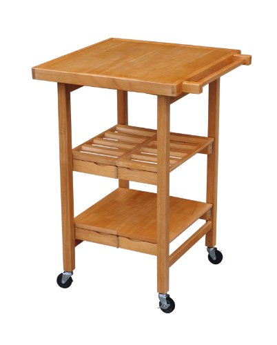 Oasis Concepts All Wood Entertainer Kitchen Cart Oak Fbgfcmh