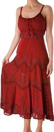 AA4012 - Sakkas Stonewashed Rayon Embroidered Adjustable Spaghetti Straps Long Dress ( Various Colors & Sizes ) - Burgandy/XL/2XL