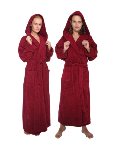 Women's and Men's Hooded Full Ankle Length Bathrobe [Style Hood'n Full] - 100% Cotton, Burgundy, Large