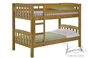 Verona Design Pine Wood America Bunk Bed with Laquered, 201 x 145 x 86 cm, 1-Piece, Antique Pine