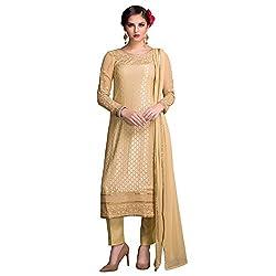 Bhelpuri Women Beige Brasso Georgette Dress Material