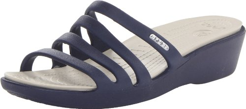 Crocs Rhonda Wedge Sandali con Plateau e Zeppa Donna, (Nautical Navy/Stucco), 41-42 EU (8 UK)