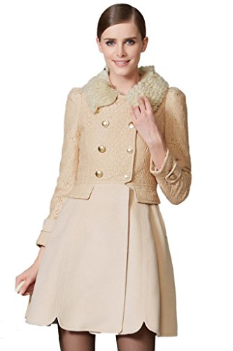 OSA Women Fur Collar Tunic Long Coat Autumn Outwear Size L Apricot