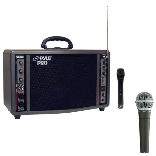 Pyle Speaker And Mic System Package - Pwma3600 200 Watt Wireless Battery Powered Pa System - Pdmic58 Professional Moving Coil Dynamic Handheld Microphone
