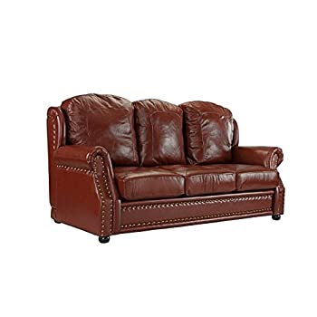 Leather Match Sofa 3 Seater, Living Room Couch with Nailhead Trim (Light Brown)